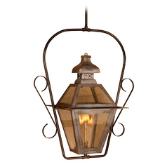 Outdoor Hanging Light with Clear Glass in Washed Pewter Finish