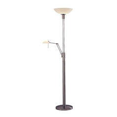 Modern Floor Lamp with White Glass in Brushed Nickel Finish