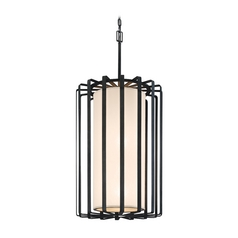 Modern Pendant Light with White Shades in Graphite Finish