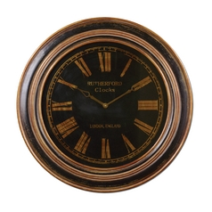 Clock in Distressed Black Finish
