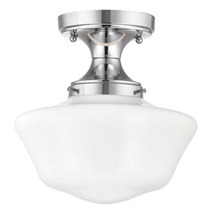 Beau 10 Inch Wide Chrome Schoolhouse Ceiling Light