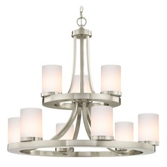 Satin Nickel Chandelier with Gloss White Glass 9-Lt 2-Tier