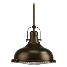 Farmhouse Prismatic Glass LED Pendant Light Oil Rubbed Bronze Fresnel Lens by Progress
