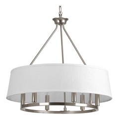 Progress Lighting Cherish Brushed Nickel Pendant Light with Drum Shade