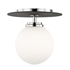 Mitzi Ellis Polished Nickel / Black LED Semi-Flushmount Light
