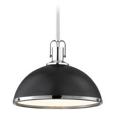 Nautical Black Pendant Light Chrome Accents 13.38-Inch Wide
