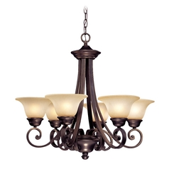 Six-Light Chandelier with Bell Shaped Glass Shades