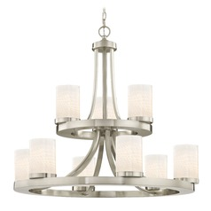 Satin Nickel Chandelier with White Art Glass 9-Lt 2-Tier