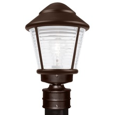 Frosted Ribbed Glass Post Light Bronze Costaluz by Besa Lighting