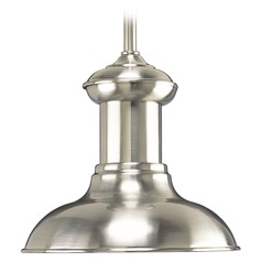 Progress Lighting Brookside Brushed Nickel LED Mini-Pendant Light with Bowl / Dome Shade