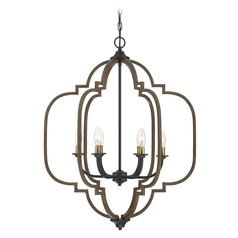 Savoy House Lighting Westwood Barrelwood with Brass Accents Chandelier