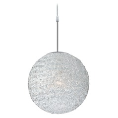 Lite Source Lighting Icy Polished Steel Pendant Light with Oval Shade