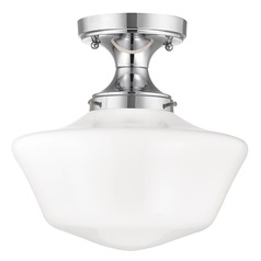 12-Inch Wide Chrome Schoolhouse Ceiling Light