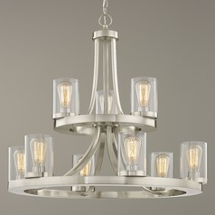 9-Light Two Tier Chandelier with Clear Glass in Satin Nickel Finish