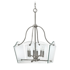 Modern Pendant Light with Clear Glass in Polished Antique Nickel Finish
