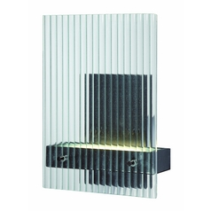 Modern LED Sconce Wall Light with Clear Glass in Textured Black Finish