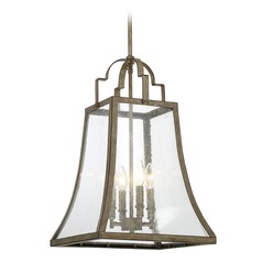 Square Seeded Glass Pendant Light Bronze Savoy House