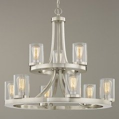 Industrial Chandelier Satin Nickel with Clear Glass 9-Lt 2-Tier