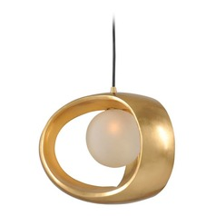 Kalco Calistoga Gold Leaf Mini-Pendant Light with Globe Shade