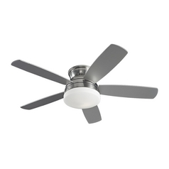 Monte Carlo Fans Modern Ceiling Fan with Light with White Glass in Brushed Steel / Matte Opal Finish 5TV52BSD