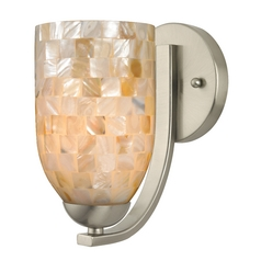 Sconce with Mosaic Glass in Satin Nickel Finish