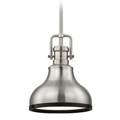 Industrial Metal Pendant Light Satin Nickel and Black 8.63-Inch Wide