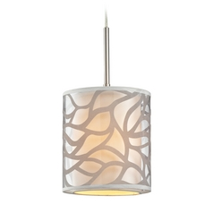Modern LED Mini-Pendant Light with Beige / Cream Shade
