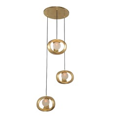Kalco Calistoga Gold Leaf Multi-Light Pendant with Globe Shade