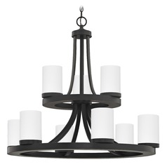 Bronze Chandelier with White Glass