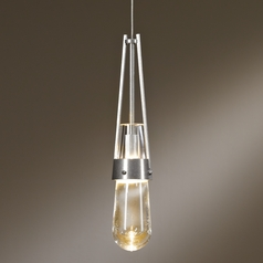 Hubbardton Forge Lighting Link Vintage Platinum Mini-Pendant Light with Bowl / Dome Shade