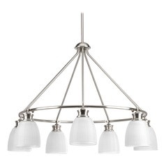 Farmhouse Chandelier Prismatic Glass Brushed Nickel Lucky by Progress Lighting