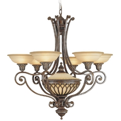 Chandelier with White Glass in British Bronze Finish