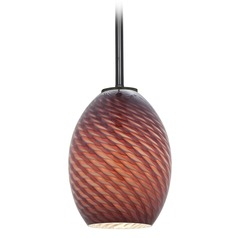 Access Lighting Brandy Firebird Oil Rubbed Bronze LED Mini-Pendant Light with Oblong Shade