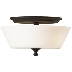 Flushmount Light with White Glass in Black Finish