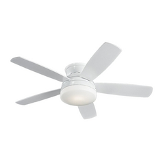 Modern Ceiling Fan with Light with White Glass in White / Matte Opal Finish