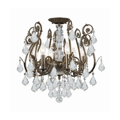 Crystal Semi-Flushmount Light in English Bronze Finish
