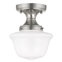 8-Inch Satin Nickel Schoolhouse Ceiling Light