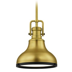 Industrial Small Pendant Light Brass / Black 8.63-Inch Wide