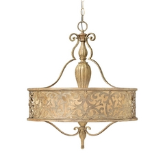 Frederick Ramond Carabel Brushed Champagne Pendant Light with Drum Shade