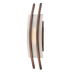 Modern LED Sconce Wall Light with White Glass in Hazel Bronze Finish
