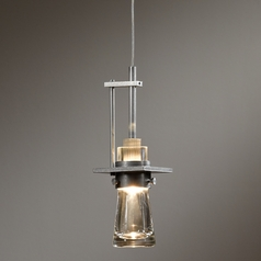 Hubbardton Forge Lighting Erlenmeyer Vintage Platinum Mini-Pendant Light with Cylindrical Shade