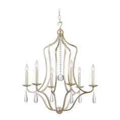 Crystorama Manning 6-Light Crystal Chandelier in Silver Leaf