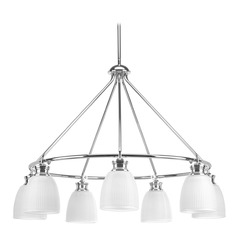 Farmhouse Chandelier Prismatic Glass Chrome Lucky by Progress Lighting