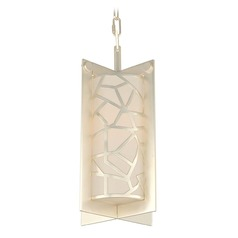 Kalco Miramar Rose Silver Mini-Pendant Light with Cylindrical Shade