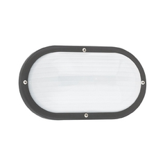 Black Oval Bulkhead Marine Light with Ribbed Diffuser