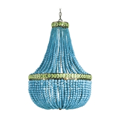 Modern Chandelier in Pyrite Bronze/turquoise/jade Finish
