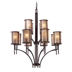 Chandelier with Brown Mica Shades in Aged Bronze Finish
