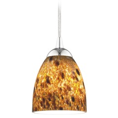 Design Classics Lighting Modern Mini-Pendant Light with Brown Art Glass 582-26 GL1005MB