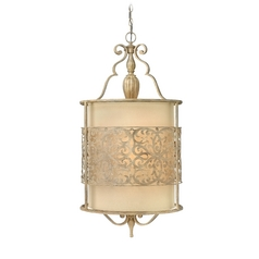 Pendant Light with Beige / Cream Shades in Brushed Champagne Finish