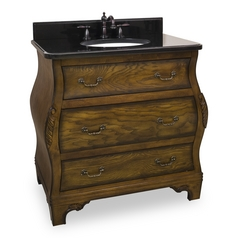 Bathroom Vanity in Walnut Finish - Pre Assembled Top and Bowl